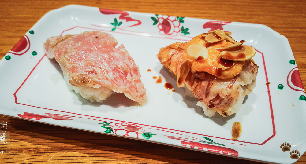 Fatty Tuna (Toro) and Baby Lobster (Uchiwa-Ebi) - Sushi SAM's EDOMATA