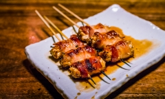 Bacon Wrapped Enoki Mushroom (Enoki-Bekon) Kushi - Ippuku, Berkeley, CA