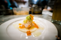 Scallop crudo with parsnip, leek, ikura and preserved lemon - The Walrus and The Carpenter, Seattle, Washington