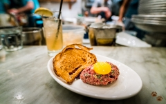 Steak tartare, egg yolk and rye toast - The Walrus and The Carpenter, Seattle, Washington