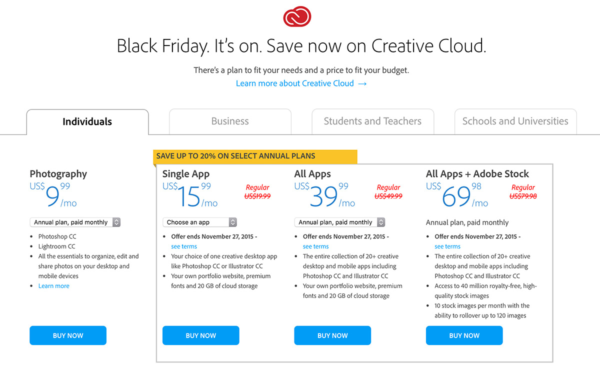 Creative Cloud Black Friday Deal